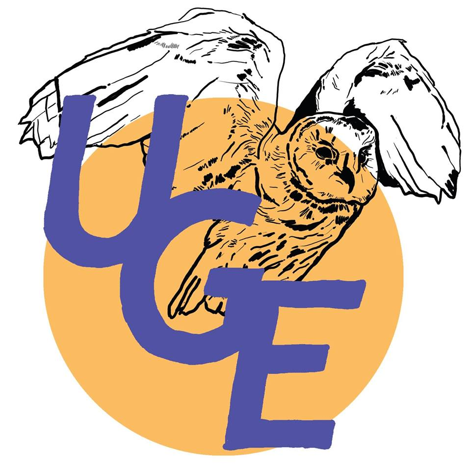The letters UGE (on a descending left to right diagonal) in purple are centered in the logo, on top of an orange cirlce and a drawing of an owl.
